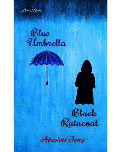 Blue Umbrella Black Raincoat